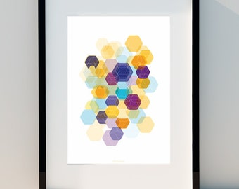 """Geometric poster """"Hexagon & Game Colors lV"""" art for home, poster, home, wall decor, print design, A2, A3 or A4"""