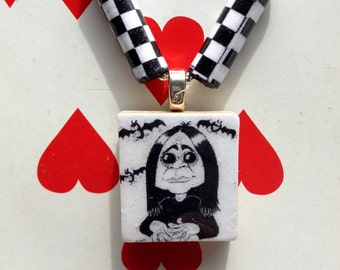 Ozzy Scrabble Tile Charm Necklace with Handmade Beads
