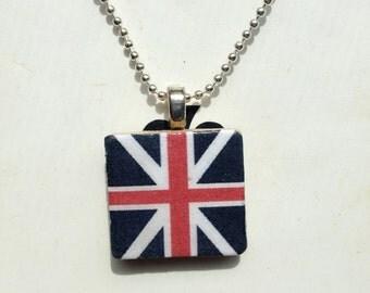 Union Jack Scrabble Tile Charm Necklace