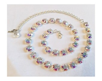 ANY SINGLE COLOR Swarovski Crystal Necklace (8mm) (Adjustable Choker Style or Longer)