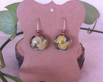 Gorgeous Bright Yellow Glass Marble Swirl with Copper Bead Design Earrings