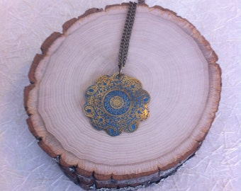 Scalloped Bronze and Blue Mandala Pendant on a Bronze Chain with a Bronze Clasp