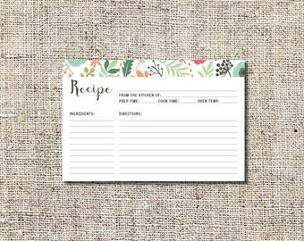 Recipe Card, Shower Recipe Card, 4 x 6 Recipe Card, INSTANT DOWNLOAD