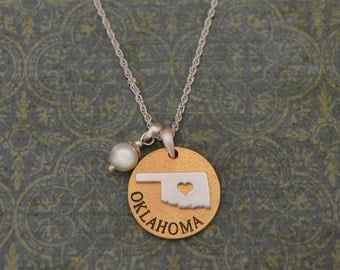 Oklahoma Love Necklace with Pearl Accent - 22465