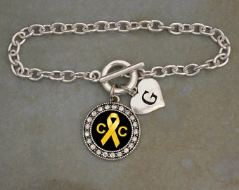 Custom Initial Childhood Cancer Awareness Bracelet