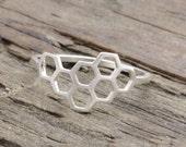 925 sterling silver honeycomb ring, honey ring, geometric ring