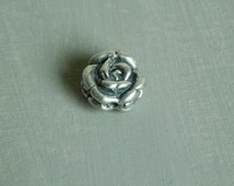 Sterling silver rose bead, carved sterling silver rose, bead, jewelry findings, sterling silver flower, boho chic, flower bead