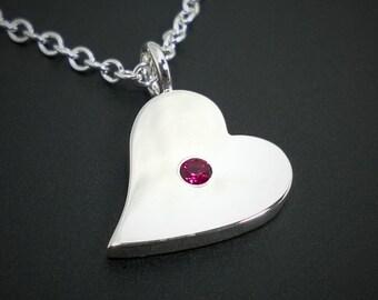 Garnet Sideways Heart Necklace Pendant in Sterling Silver - Sterling Silver Heart Necklace, Sterling Silver Heart Pendant, Garnet Heart