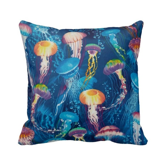 Zippered Jellyfish Throw Pillow Cover by PrimalVogueHomeDecor
