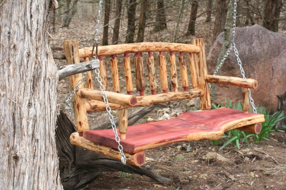 Rustic 4 Cedar Slab Log Back Porch Swing By Povertygulch