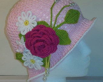 2 in 1 Summer Cloche Panama Flower Hat Downton Abbey Inspired --PATTERN--Spiral AND Non-Spiral includes all Flowers and Leaves- ALL Sizes