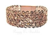 Bracelet - Rose Gold Herringbone Beaded Superduo with Scalloped Magnetic Clasp, Gold Bead Bracelet, Superduo Bracelet, Copper Bead Bracelet