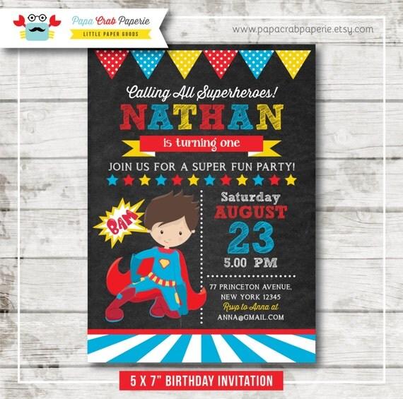 First Birthday Party Invitation Boy Chalkboard: Superhero Boy Chalkboard Birthday Party Invitation / DIY