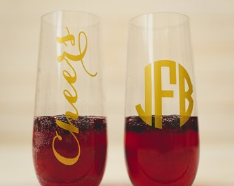 Personalized champagne flute  Acrylic shatterproof.