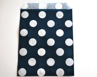 Navy Polka Dot Favor Bags