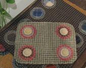 Checkered Primitive Penny Rug, FAAP, OFG, HAFAIR