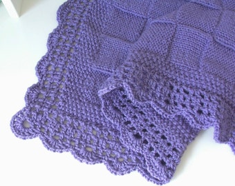 Lilac Blanket, Lilac, Baby Blanket, Blanket, Baby, Baby Shower, Baby Gift, Baby Knit, Baby Blanket, Shower Gift,  Hand Knitted, Baby Layette