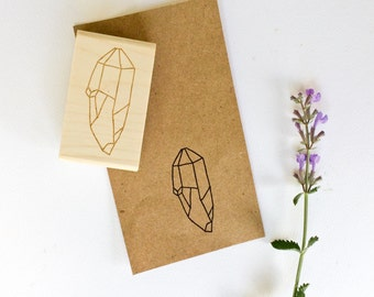 Crystal Rubber Stamp - Hand Drawn Stamp - Rubber Stamp - Crystal Stamp - Gem Stamp - Quartz Rubber Stamp - Amethyst Stamp