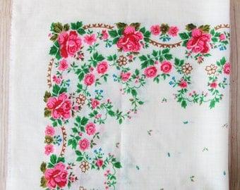 "Vintage wool shawl, 28"" x 28"", Ukrainian folk art, Russian floral scarf, Floral pattern, White/Ivory, Flowers,  USSR, Soviet Union, 1980s"