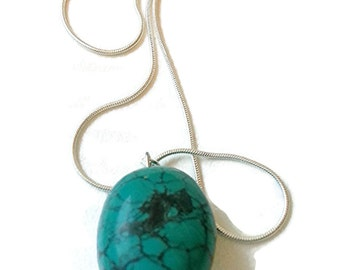 Turquoise pendant, blue stone, Turquoise Necklace, Sterling Silver, natural turquoise, blue necklace, December birthstone, bohemian necklace