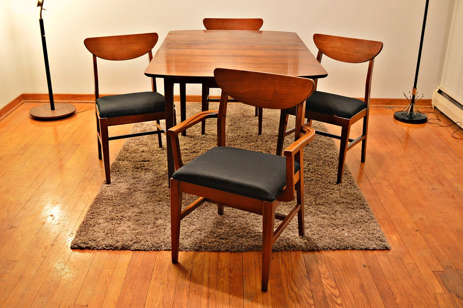 mid century danish style dining set table and 4 chairs