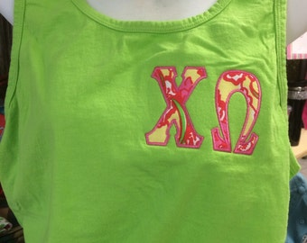 Chi Omega Tank, Short Sleeve, or Long Sleeve, with Chi O Lilly Fabric