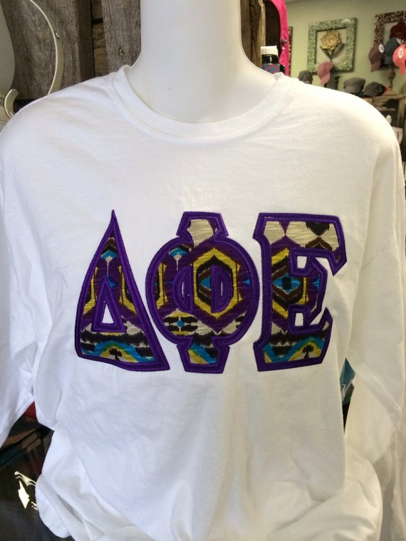 Custom sorority tribal print double raised letters shirt in for Custom greek letter t shirts