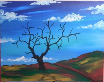 """Original 11"""" x 14"""" Acrylic Painting on a canvas panel, ready for framing. """"Against Time"""""""