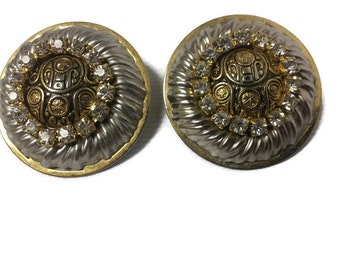 Vintage Two-Tone Oversized Round Egyptian Earrings with Clear Rhinestones