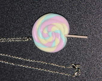 Lollipop necklace, handmade necklace, sweet jewelry, kawaii jewelry