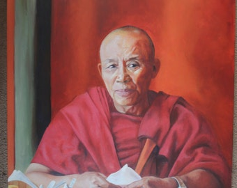 Exile. A colour Giclee print of an original oil painted portrait of a Tibetan monk in India.