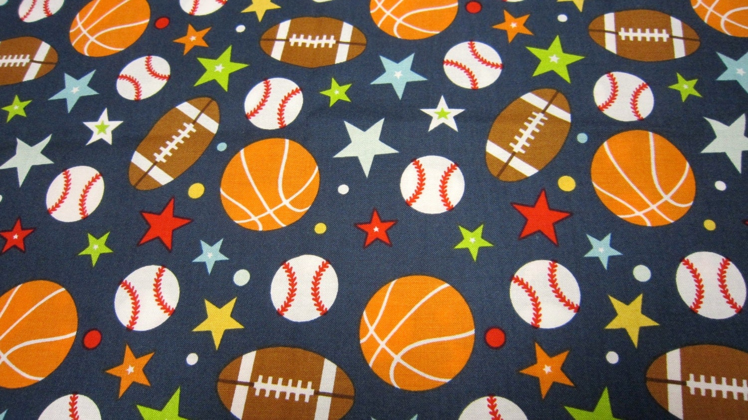 Navy sports cotton fabric for children called play ball by for Children s cotton dress fabric
