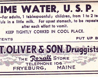 Lime Water - Vintage Pharmacy Label