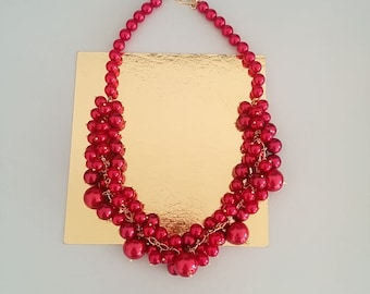 Red Grapes Swarovski Pearl Necklace