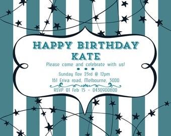 Personalised Invitation, Birthday Invitation, Custom Invitation,