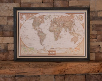 framed world map antique tones 100 pins to mark your adventure fast ship