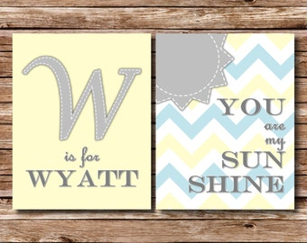 You Are My Sunshine, Baby Print Set, Sunshine Print, Sunshine Sign, Nursery Sign, Baby Shower Gift, Nursery Print, Nursery Art, Baby Room