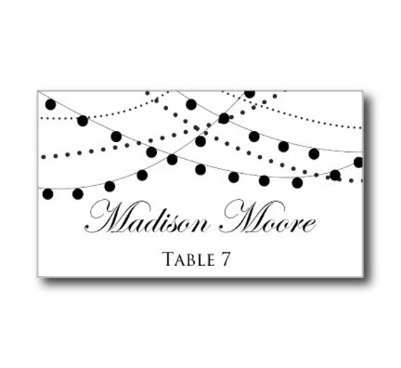 printable wedding place card template string lights by clearylane