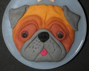 Pug Dog Face Mould.  8.5cm Food & Heat Safe Silicone.