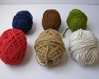 Lot of 6 colorful heavy rag rug warp weaving supplies