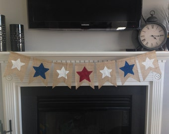 Red, White and Blue Star Banner- Holiday Decor- Wedding Decor- 4th of July- Memorial Day- Labor Day- Photo Prop- Burlap Banner