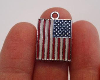 2 USA Flag Charms Silver Tone 22 x 15mm - SC367