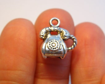 6 Telephone Charms Antique Silver  16 x 14mm - SC394