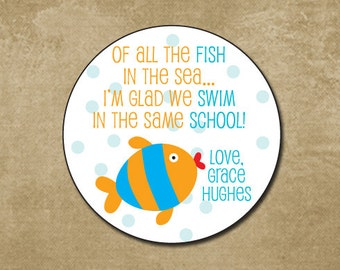 Fish Valentine Day Stickers, Personalized Treat Bag Stickers for Valentines, Kids Classroom Valentines Day Cards, Ofishally Valentine
