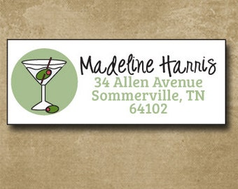 Martini Address Labels, Personalized Custom Mailing Labels, Fun and Trendy Return Address Labels, Mint, Alcohol Stickers,