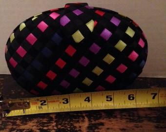 Vintage Delill Woven Ribbon Clutch Purse