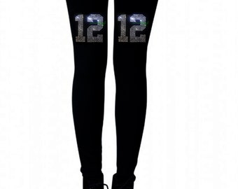 football Seattle Seahawks 12th man leggings  Rhinestones