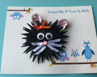 Halloween, Black Cat Sculpture Hair Clip