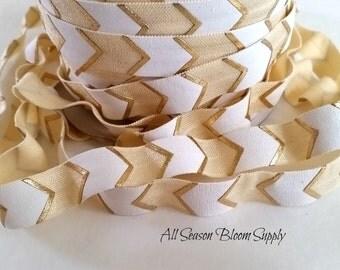 "New Design! 2, 3, 5 or 10 yards Printed Gold Foil Arrows Print Foldover Elastic, 5/8"" FOE, Shiny Elastic, Elastic by the yard, Headband, DIY"