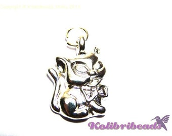2x Cat Charm 15 mm - Silver plated